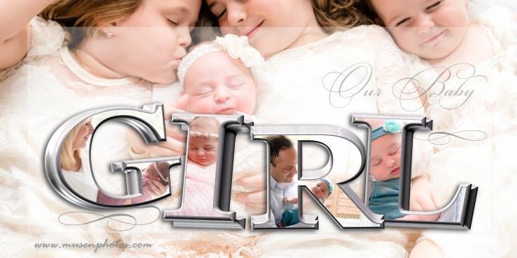 Newborn Girl 3D Collage