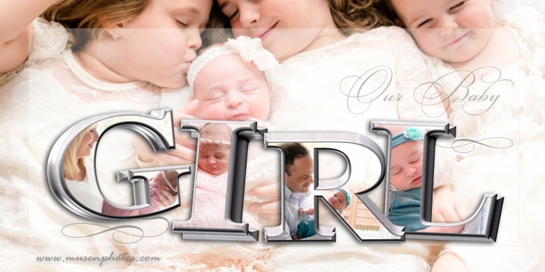 Newborn Girl 3D Collage