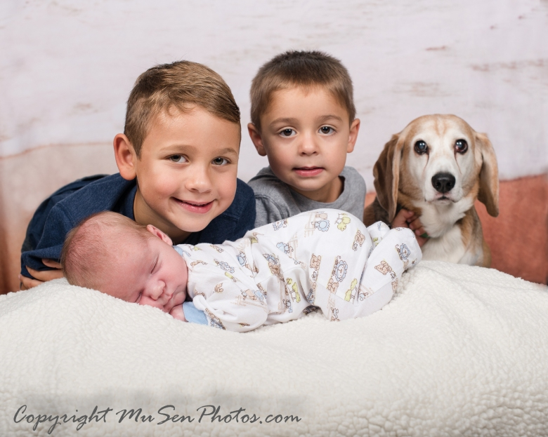 Newborn 4 Brothers with Puppy