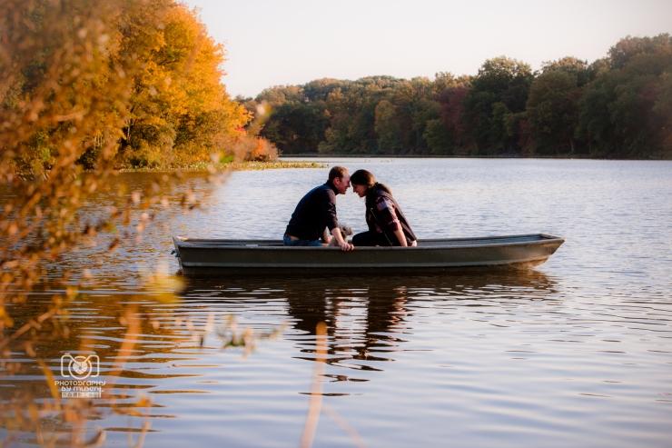 Autum Sunset Rowboat Engagement