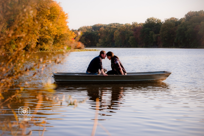 Autum Sunset Rowboat Engagement